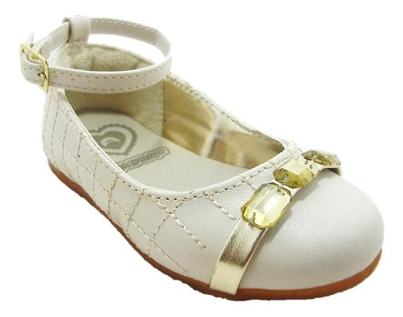 Sapato Infantil Marfim/ouro Com Pedraria 080003 Art Dcalçar