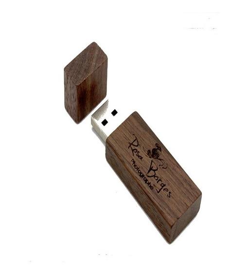 Pen Drive De Madeira 4 Gb Personalizado Gravamos Logo Grátis