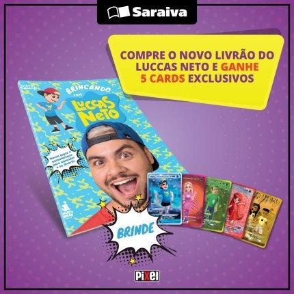 Livro Brincando Com Luccas Neto + Brindes Adesivos Ou 5 Card