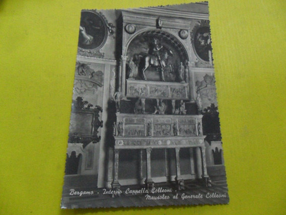Antigua Tarjeta Postal Bergamo Monumento A Colleoni