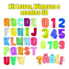 Letras 3d Quadradas Com Acentos E Números Arquivo Silhouette