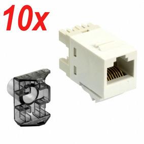 10 Un. Conector Fêmea Rj-45 Cat5e Amp Sl 110 Jack Almond