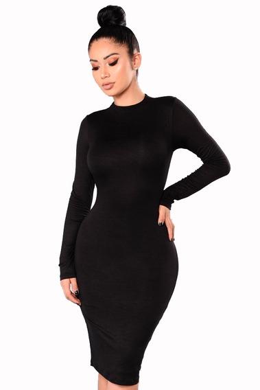 Vestido Midi Kim Kardashian Manga Longa Malha Viscolycra