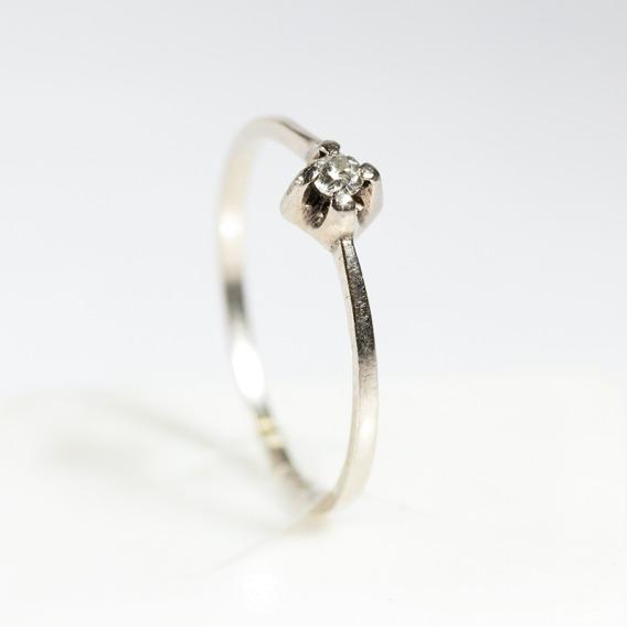 Anel Solitário Ouro Branco 18k C/ Diamante