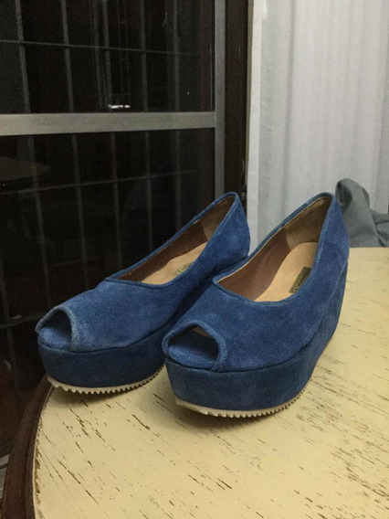 Zapatos Azules Con Plataforma