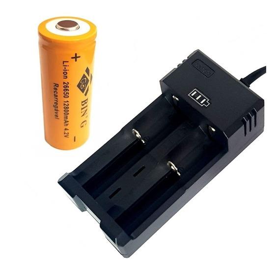 Carregador Duplo + Bateria 26650 12800mah Lanterna T9 X900