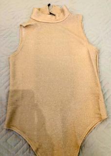 Bodysuit Mujer De Lurex Dorado Sin Espalda Dama Moda Sin Uso