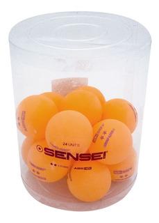Balde Pelotitas Ping Pong X 24 Pelotas Sensei 2 Estrellas