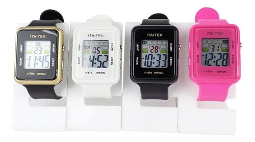 Imagem 1 de 10 de Kit 4 Relógios Femininos Digital Led À Prova D'água K4rml14