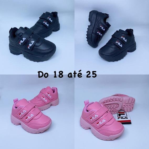 Tênis Infantil De Velcro Duplo Courino Pronta Entrega