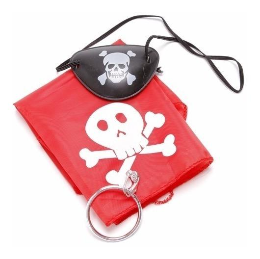 Kit Pirata Bandana Brinco E Tapa Olho Fantasia Cosplay Anime