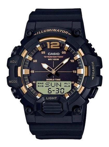 Relógio Casio Masculino Iluminator Hdc-700 9avdf Preto Gold