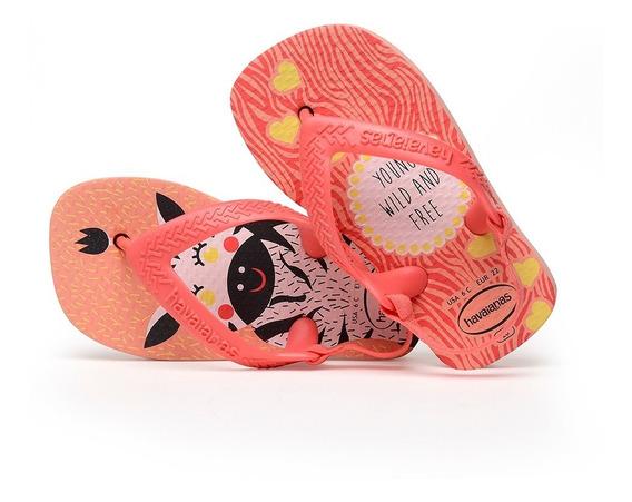 Sandálias Havaianas - Chinelo Infantil Baby Pets Rosa/coral