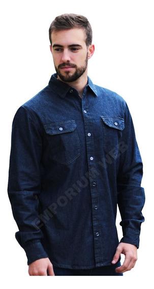 Camisa Jeans Masculina Slim Fit Social Manga Longa