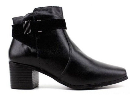 Bota Ankle Boot Naturali Preta Couro