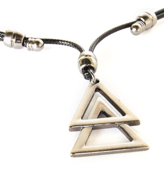 Colar Com Pingente De Triângulos - Ajustável