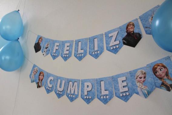 Kit Deco Cumple Frozen/banderín/stickers/toppers/cartel Baño