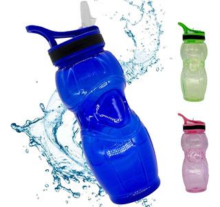 Garrafa Squeeze Agua Plástico Bico Canudo C/ Alça 600 Ml Academia