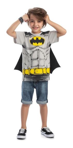 Camiseta Menino Batman Original Dc Infantil Com Capa Comics