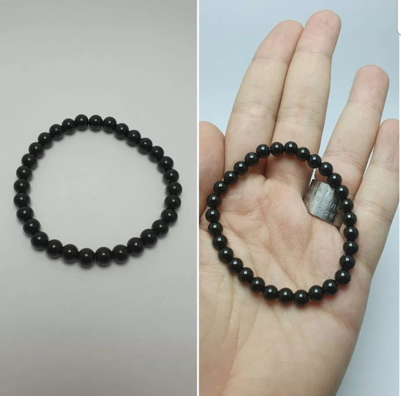 Pulseira Turmalina Negra Natural Pedra De 6mm
