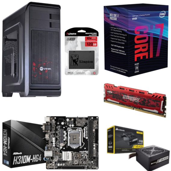 Pc Hunter Intel I7 8700 Mb H310m Hg4 Bl 8gb Vs400 Ssd 120gb