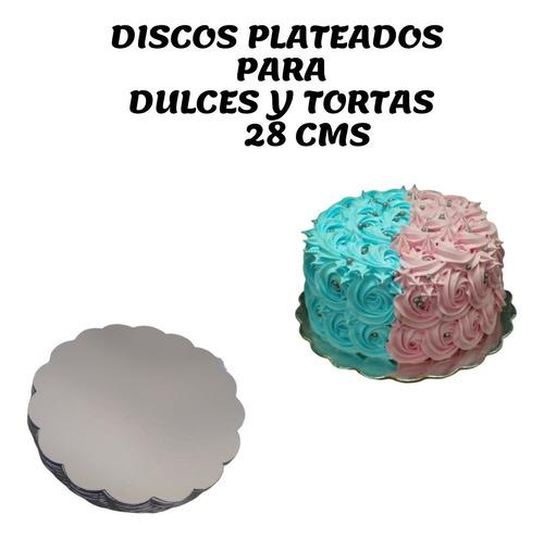 Discos Plateados Para Torta Ingra De 28 Cms ( 50 Und)