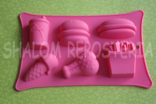 Imagen 1 de 2 de *molde Silicon Mini Hamburgesas Helados Papas Jabon Chocolat