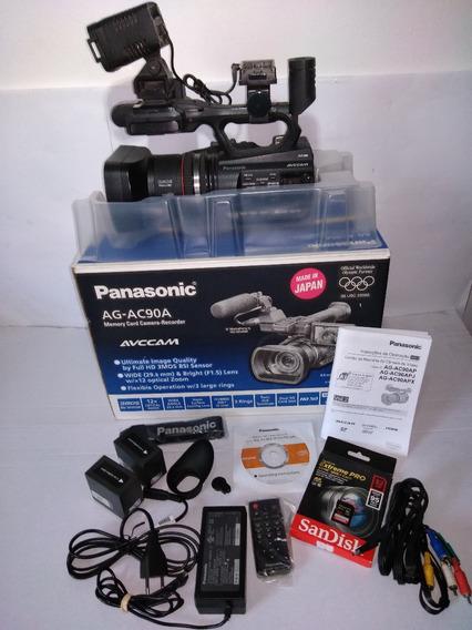 Câmera Panasonic Ag-ac90a + Iluminador + Bolsa Perfeita