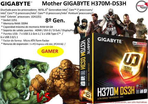Imagen 1 de 9 de Mother Gigabyte H370m-ds3h 1151 Ddr4 64gb  8º Gen.  Gamer