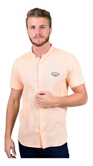 Camisa Manga Corta Lino Portoblanco Cuello Mao Salmon Mc-562