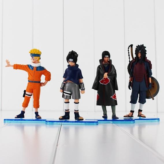 Kit 4 Bonecos Naruto Sasuke Itachi E Madara Actions Figure