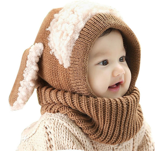 Gorro Termico Tejido Con Orejas Para Bebe Niños Niñas
