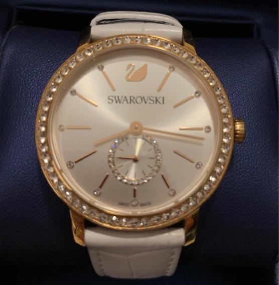 Relógio Swarovski Branco Com Cristais - Dourado Rosa
