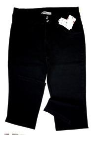 Calça Feminina Brim Preto Lycra Tamanhos Grandes Especiais