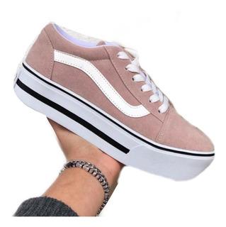 zapatillas vans rosas mujer plataforma