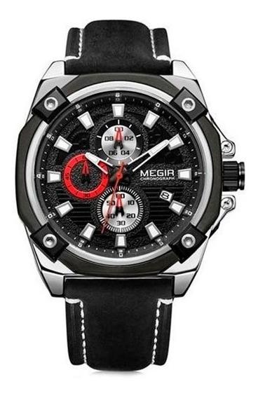Relógio Megir Racing 2054-v Com Pulseira Em Couro