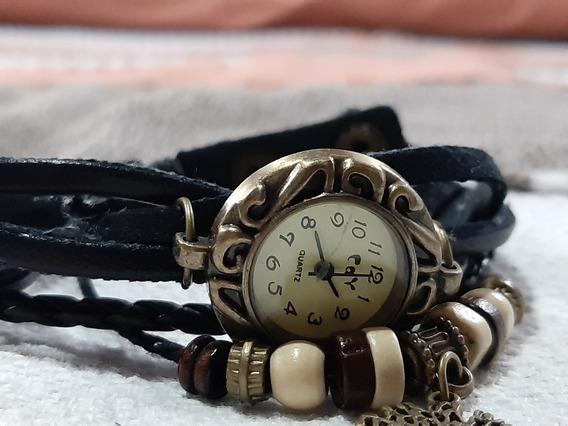 Reloj Vintage De Cuero Estilo Pulsera.