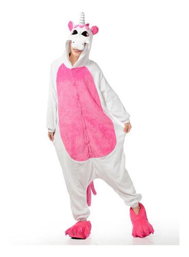 Kigurumi Pijamas Adultos Plush Disfraz Unicornio Blanco Y Ro