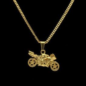 Colar Cordão Motocicleta Folhedo Moto Ouro Corrente