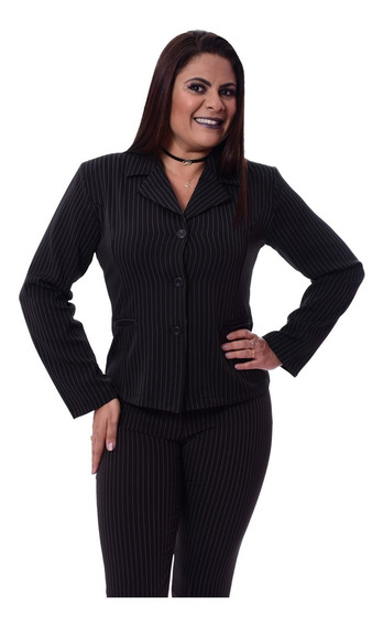 Terno Feminino Blazer, 3 Botões Com Calça Risca De Giz