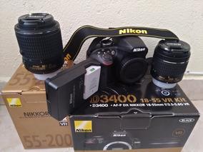 Câmera Profissional Nikon D3400 + 2 Lentes + Bag