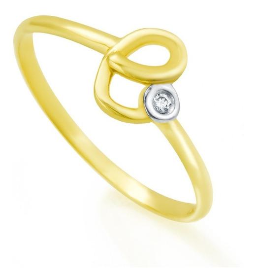 Anel De Ouro 18k Letra E Com Diamante An32200