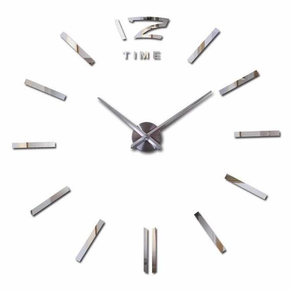 Reloj De Pared Minimalista 120 Cm Funcional 3d Acabado Espejo Moderno Decorativo Cuarzo Sala Comedor