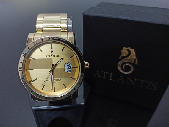 Relógio De Pulso Masculino Dourado Atlantis Original