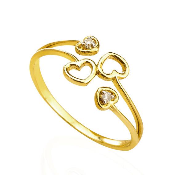 Anel De Ouro 18k Corações Vazados Com Diamantes An34703