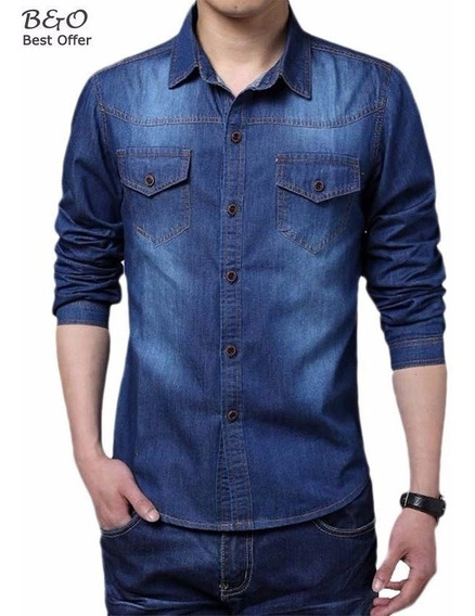 Camisa Slim Social Jeans Masculina Importada