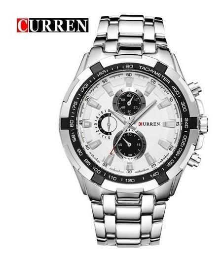 Relógio Masculino Curren 8023 Luxo Original Inox Lançamento
