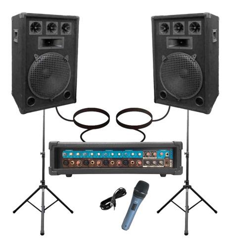Combo Consola 5 Canales Potencia 200w 2 Bafles 12 Microfono