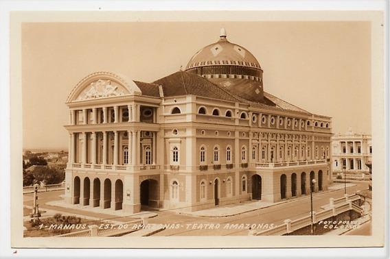 Cartao Postal Fotografico Teatro Amazonas - Manaus - Anos 60
