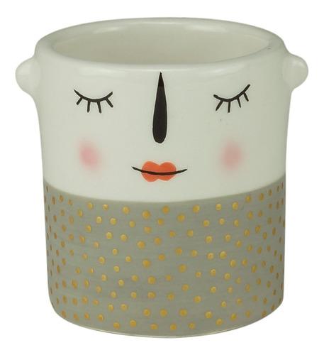 Mini Cachepot Cerâmica Puppet  Shy Girl Branco Urban